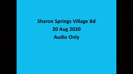 Sharon Springs Village Bd -- 20 Aug 2020