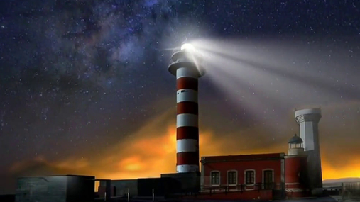 Lighthouse and the moving stars