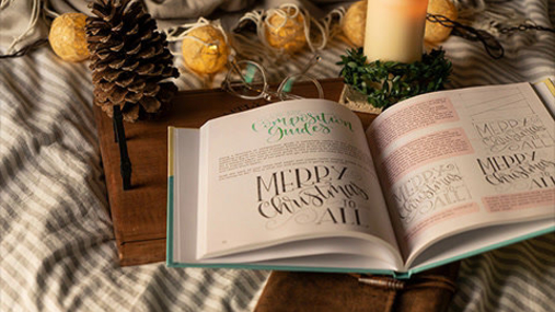 Christmas book and the candle