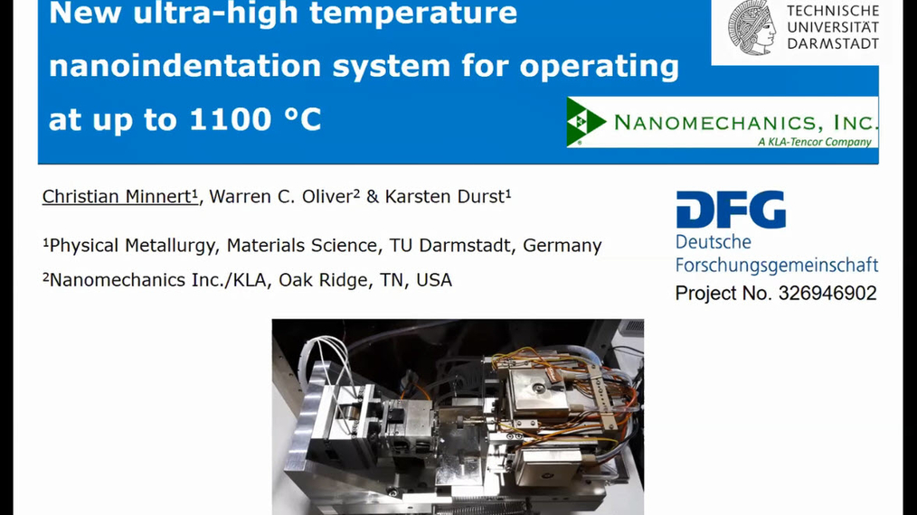 Christian Minnert: New ultra-high temperature nanoindentation system for operating at up to 1100°C