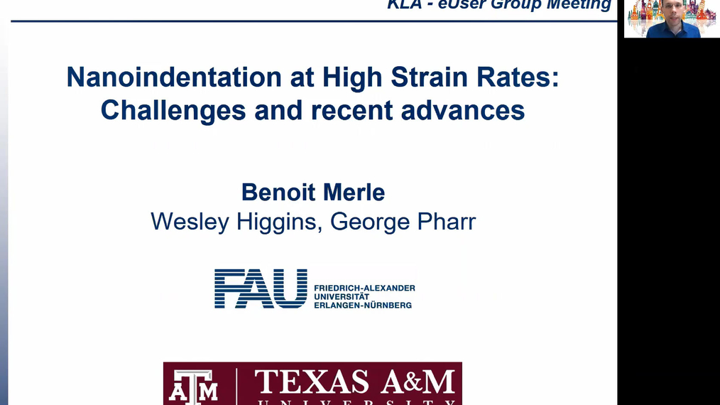 Dr. Benoit Merle - Nanoindentation at high strain rates - Challenges and recent advances