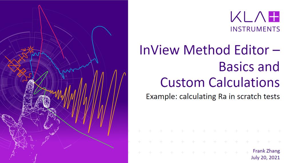 InView Method Editor Basics and Custom Calculation