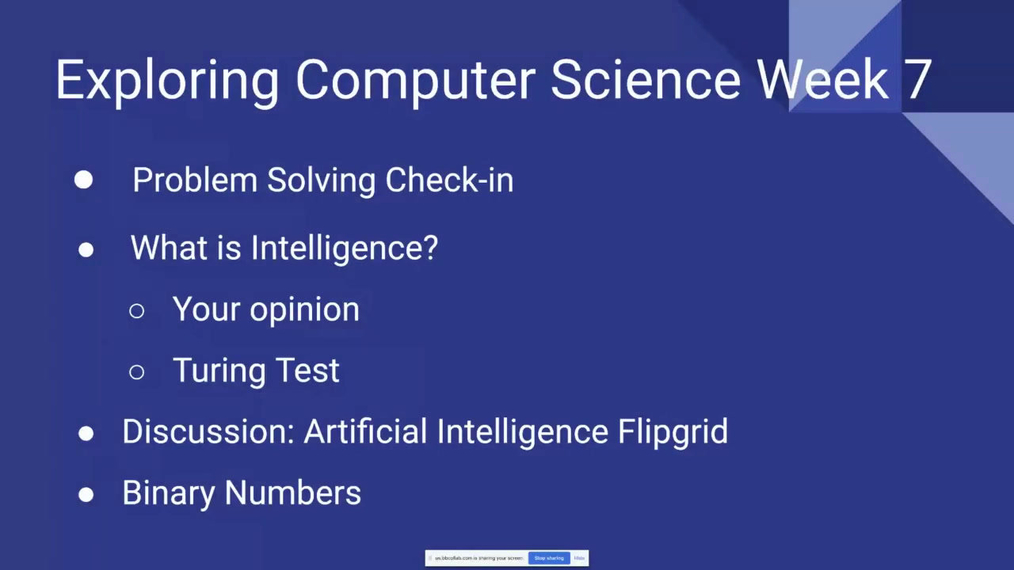 Exploring Computer Science Q1 Week 7 Live Session