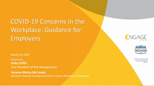 COVID-19 - Managing Concerns in the Workplace - March HR Webinar