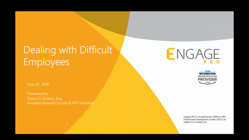 June 2018 HR Webinar - Dealing with Difficult Employees