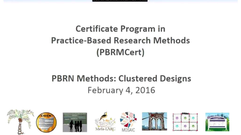 PBRN Methods: Cluster Designs