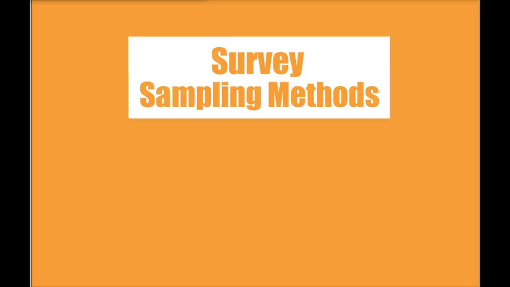 Stats - Survey Sampling Methods