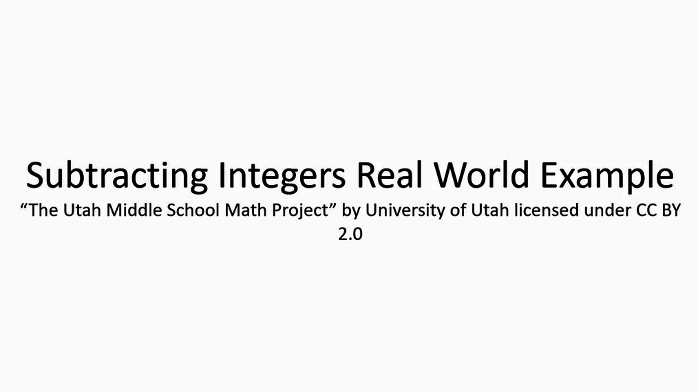 Math 7 Subtracting Integers Real World Example