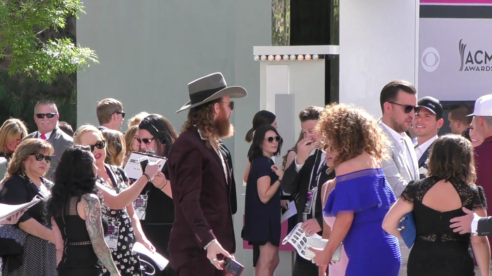 Brothers Osborne arriving to the 52nd Academy Of Country Music Awards at T-Mobile Arena in Las Vegas.mp4