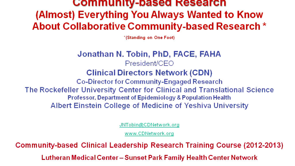 Introduction to Collaborative Community-Based Research