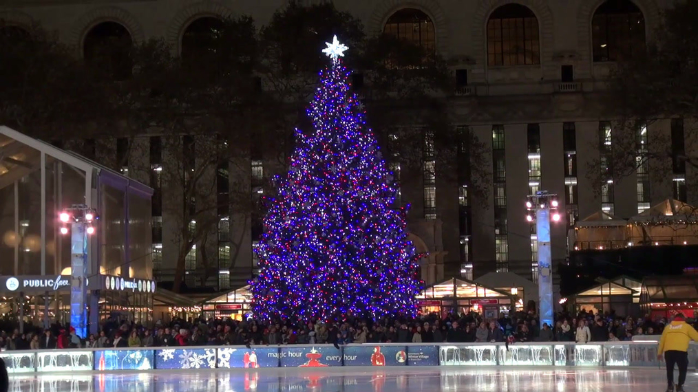 Bryant Park Christmas 2017 Tree and Ice Rink in New York.mp4