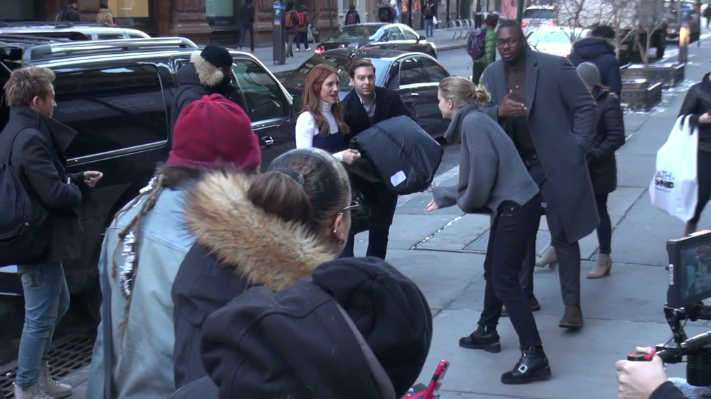 Brittany Snow outside the BUILD Series in New York.mp4