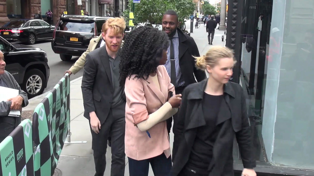 Domhnall Gleeson outside the BUILD Series in New York.mp4