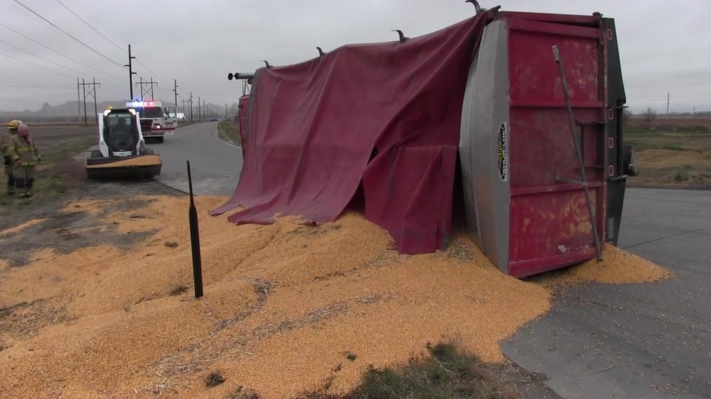 Grain Truck Topples