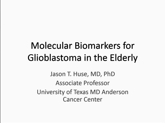 Molecular Biomarkers for Glioblastoma in the Elderly