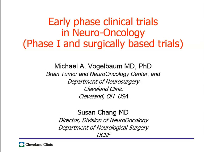 Early phase clinical trials in Neuro-Oncology