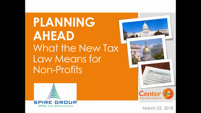 Planning Ahead: What the New Tax Law Means  for Nonprofits