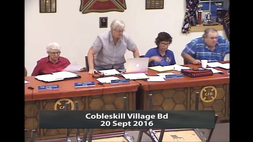 Cobleskill Village Bd -- 20 Sept 2016