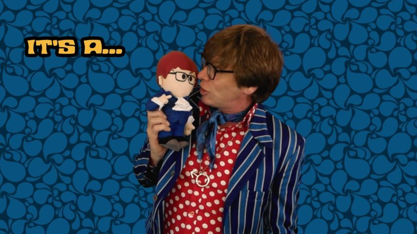 Film a persona greeting/message in the style of Austin Powers