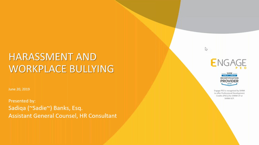 June 2019 HR Webinar - Harassment & Workplace Bullying