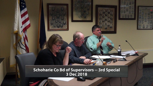 Schoharie Co Bd of Supervisors --3rd Special --3 Dec 2018