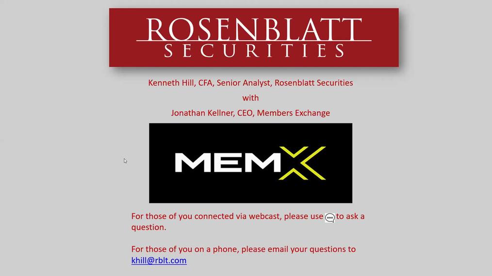 Webinar: Casual Fridays with Ken - MEMX