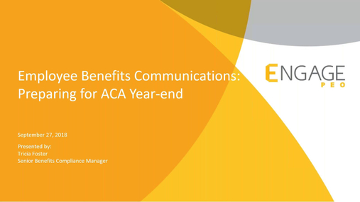 September 2018 HR Webinar  - Preparing for ACA Year-End Reporting