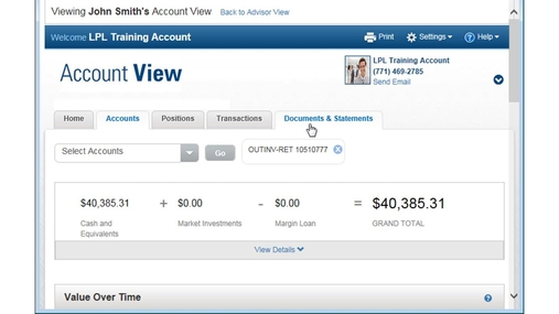 Account View Overview