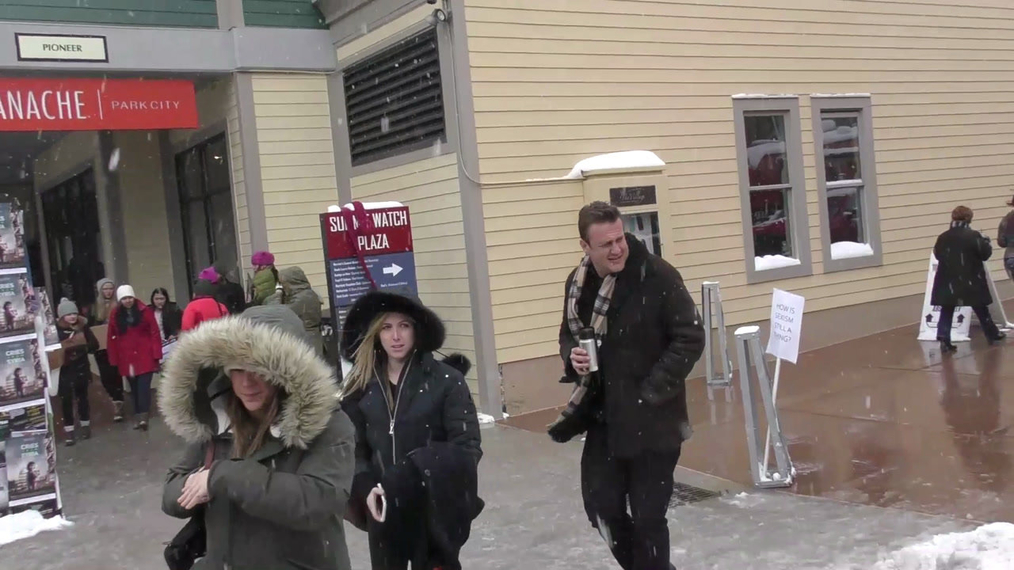 Jason Segel photo ops with fans on Main Street at Sundance Film Festival in Park City.mp4