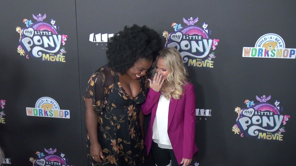 Uzo Aduba and Kristin Cheoweth at the My Little Pont The Movie Premiere at AMC Lincoln Square Theater in New York.mp4