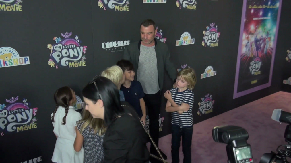 Liev Schreiber with his kids Samuel Kai and Alexander Pete at the My Little Pont The Movie Premiere at AMC Lincoln Square Theater in New York.mp4