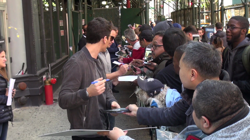 Miles Teller, Taylor Kitsch and Josh Brolin outside the BUILD Series in New York.mp4
