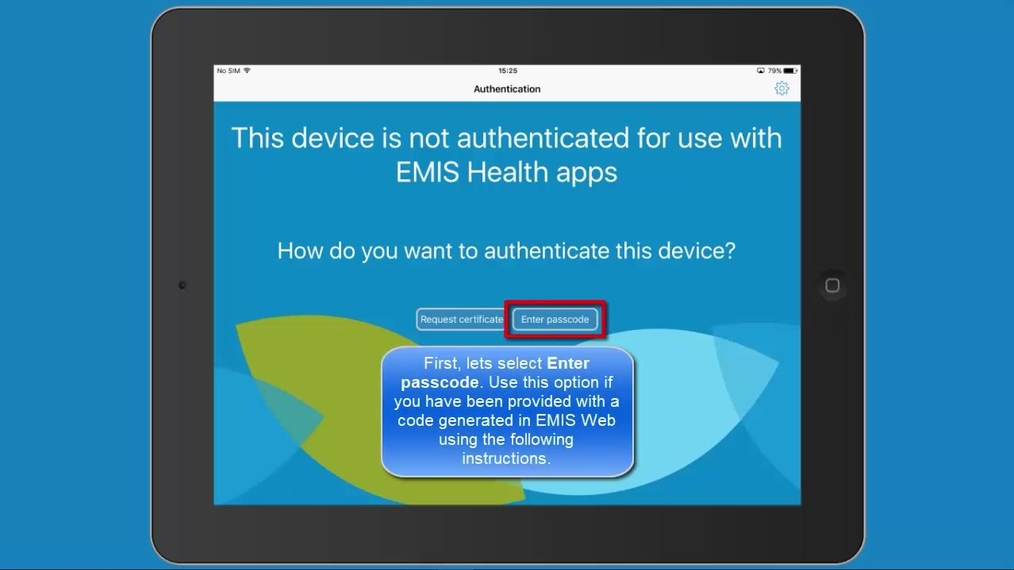 Authenticating an iOS device in EMIS Mobile