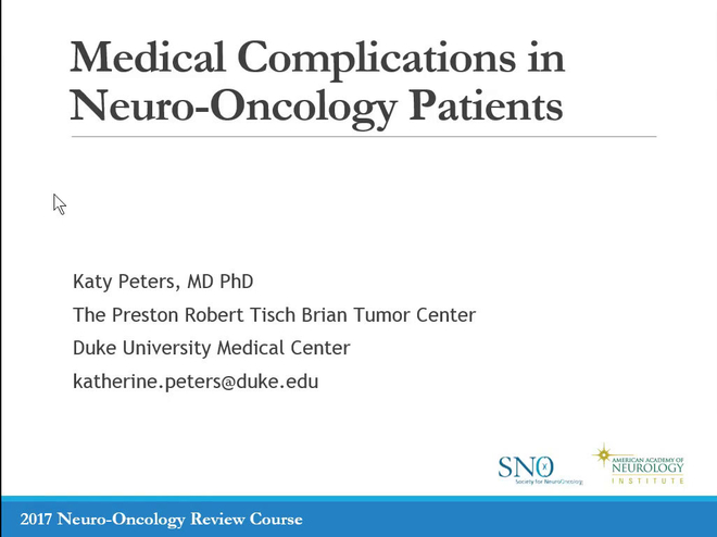 Medical Complications in Neuro-Oncology Patients