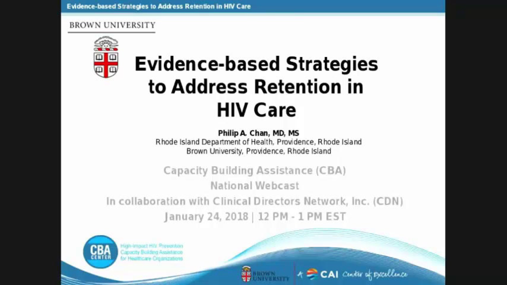 Evidence-Based Strategies to Address Retention in HIV Care2.13.18.pa.mp4