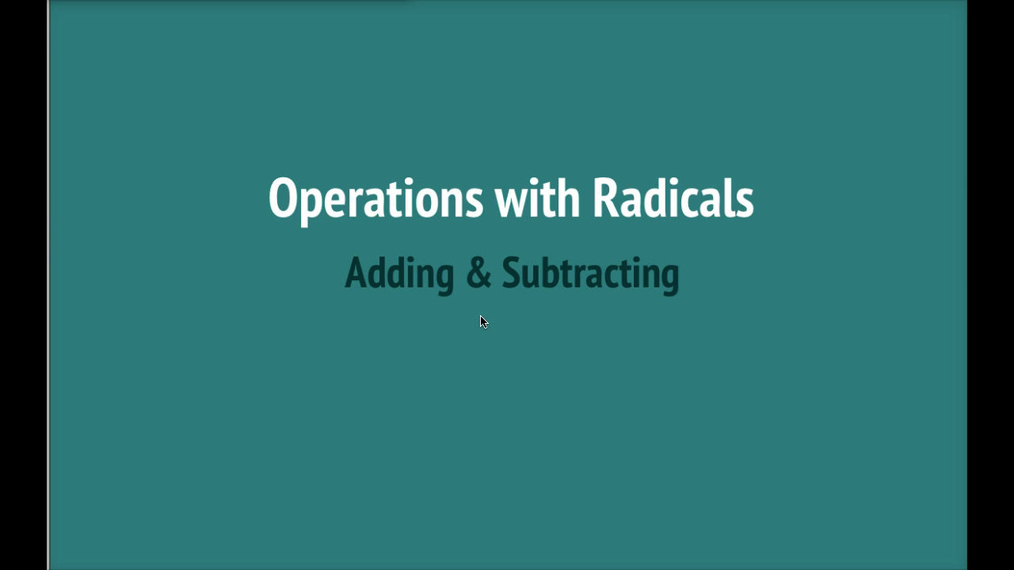 Math 8 Q4 NEW - Unit 10 Operations with Radicals.mp4