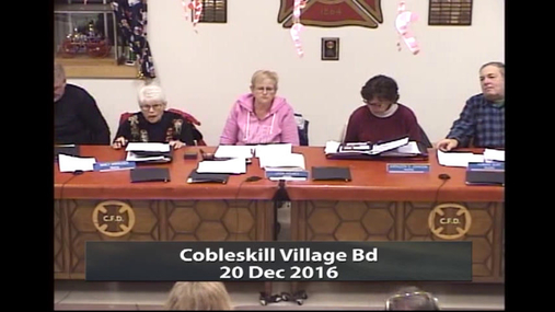 Cobleskill Village Bd -- 20 Dec 2016