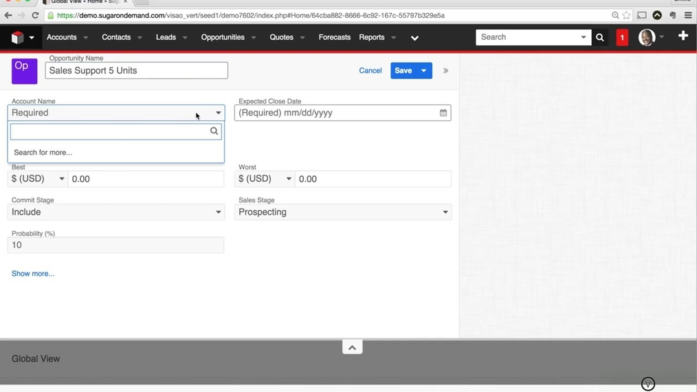 SugarCRM7 - How to Create a Opportunity