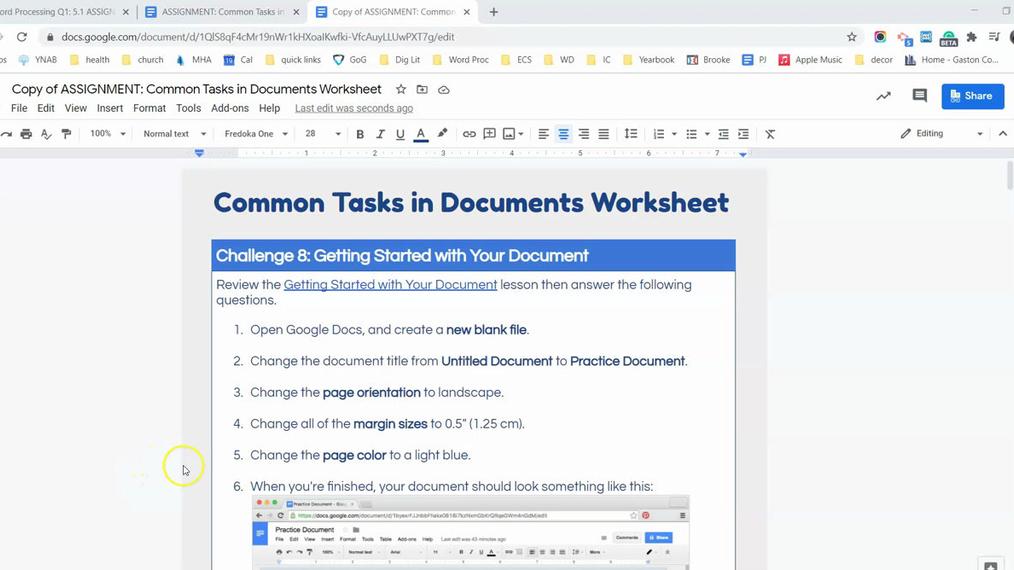 Common Tasks in Documents Worksheet Homework Help