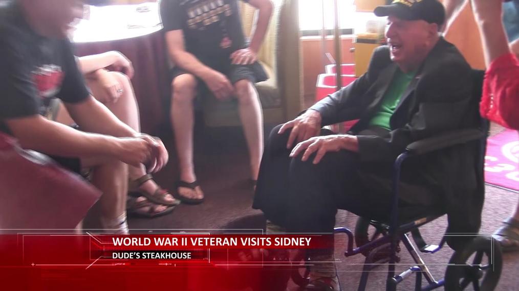 World War II Veteran Sidney Walton visits Sidney, Nebraska