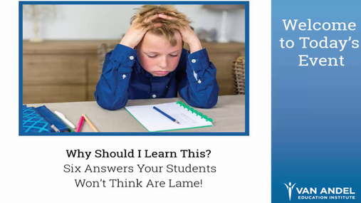 Why Should I Learn This? Webinar - May 17, 2017