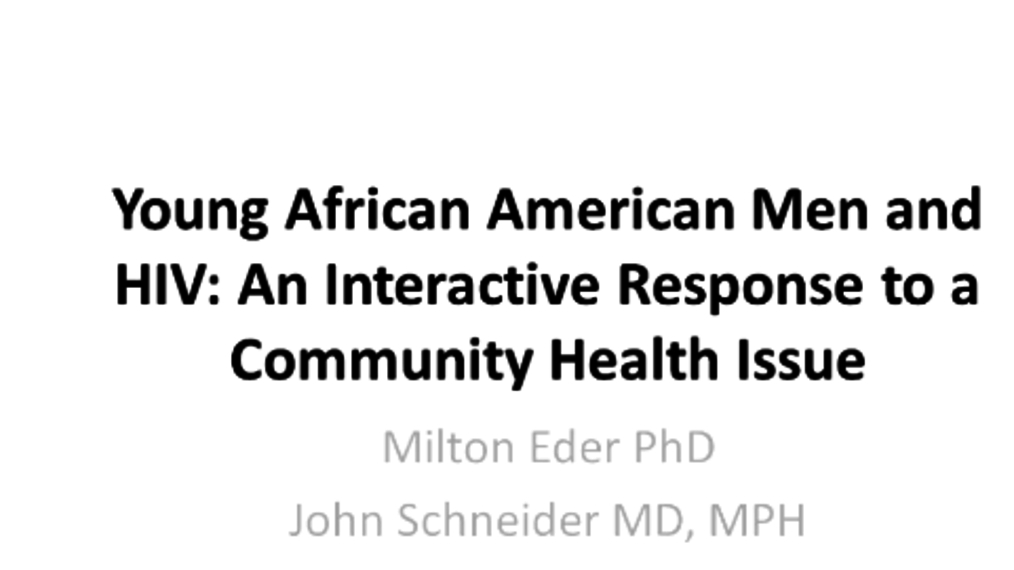 N2 PBRN Virtual Training Series - Young African American Men and HIV: An Interactive Response to a Community Health Issue