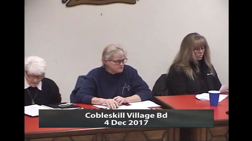 Cobleskill Village Bd -- 4 Dec 2017