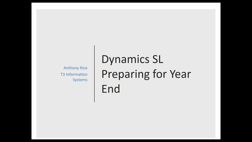 Preparing for Year End in Dynamics SL