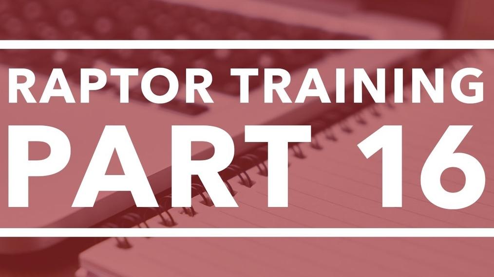Data Storage Project - Raptor Training (part 16)