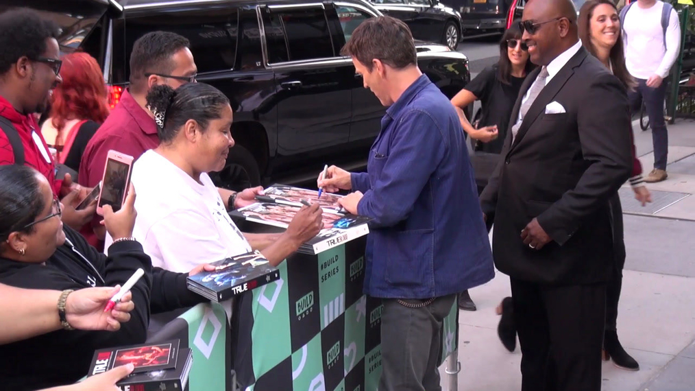 Stephen Moyer outside the BUILD Series in New York.mp4