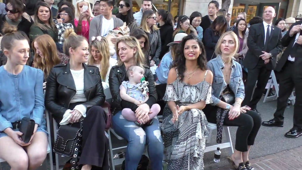 Erika Christensen and Camila Alves at the Rebecca Minkkoff's See Now, Buy Now Fashion Show at The Grove in Hollywood.mp4