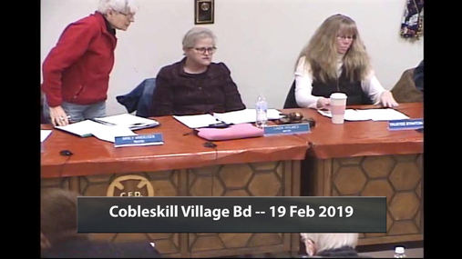 Cobleskill Village Bd -- 19 Feb 2019