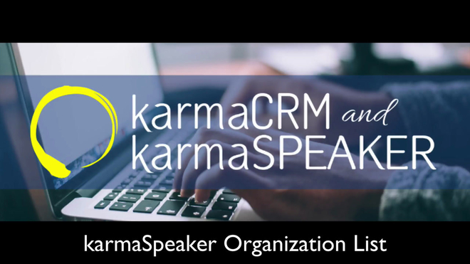 Overview of the Organizations List View in karmaSpeaker
