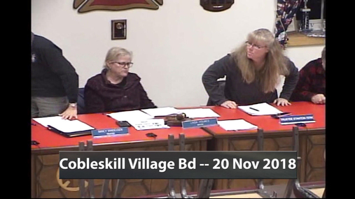 Cobleskill Village Bd -- 20 Nov 2018